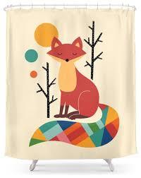 society6 rainbow fox shower curtain contemporary shower