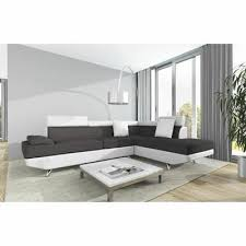 canap d angle scoop scoop canapé d angle droit 4 places tissu gris et simili blanc