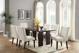 7pcs dining room set with faux leather chairs bernals furniture