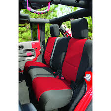 jeep unlimited red rugged ridge 13264 53 neoprene rear seat cover 07 15 jeep