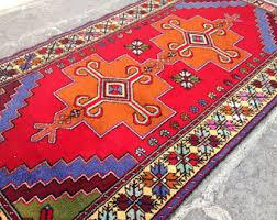 vintage orange rug etsy