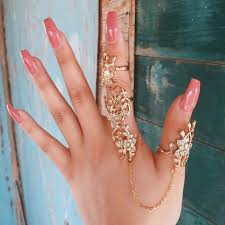 top knuckle rings images Top quality vintage gold crystals flower full finger ring armour jpg