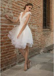 ivory short wedding dress crafted in tulle satin and lace a line