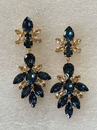 navy blue earrings navy blue swarovski embellished teardrop dangle earrings