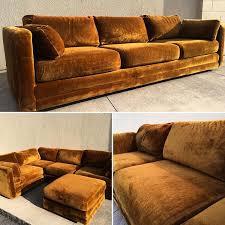 sold vintage 70 u0027s rustic brown velvet sofa interiordecor interior