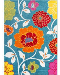 Flower Area Rugs by Deal Alert Well Woven Bright Flowers Blue Orange Red Yellow