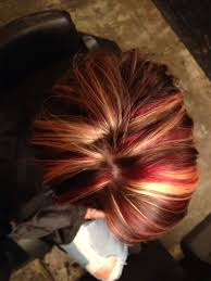 fall hair color red blonde and dark brown i dont like this red
