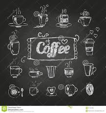 chalk drawings set of coffee cups stock vector image 41322496