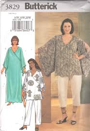 butterick 3829 plus size womens pants pullover top caftan pattern