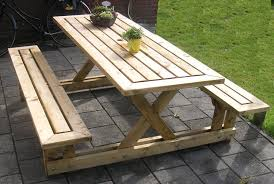 Free Wooden Outdoor Table Plans by Picnic Table 5 Steps With Pictures