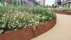 Corten Steel Planter by Handyside Gardens In London By Townshed Landscape Architects