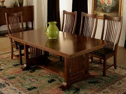 Mission Style Dining Room Sets by Grove Park Mission Style Trestle Dining Table 1