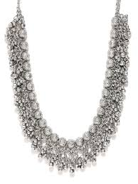 jewellery necklace silver images Jewellery online buy womens jewellery online in india myntra jpg
