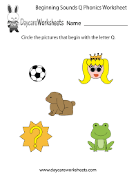 free beginning sounds letter q phonics worksheet for preschool