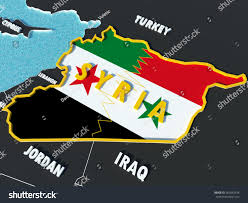 Rebel Syrian Flag Map Syria Divided Government Rebel Flags Stock Illustration