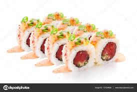 cuisine fond blanc cuisine japonaise rouleau de thon isolé sur fond blanc