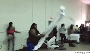 Throwing Table Meme - this woman hulks out throwing a table and catching a folding chair