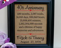 40th wedding anniversary gifts 40th anniversary etsy