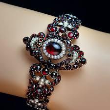 antique garnet bracelet images Antique bohemian garnet and pearl renaissance revival bracelet jpg