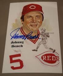 Johnny Bench Autograph Johnny Bench Autographed Perez Steele Art Postcard Sports