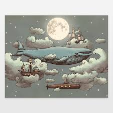 terry fan the whale art print ocean meets sky art print by terryfan on boomboomprints