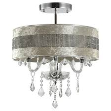 modern crystal ceiling lights with semi flush fabric shade