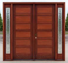 craftsman double wood door with sidelights
