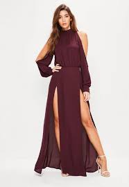 sleeve maxi dress burgundy split front and sleeve maxi dress missguided