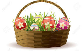 easter basket grass easter basket with painted eggs in fresh grass royalty free