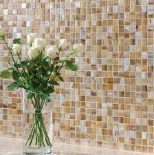 Kitchen Backsplash Mosaic Tile Designs Kitchen Style Glass Flower Vase On White Glass Brown And White