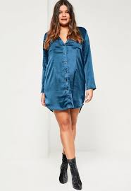 plus size navy satin shirt dress missguided