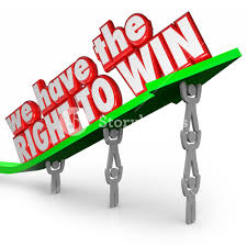 we have the right to win words in red 3d letters on an arrow
