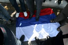 Position Of Flags Syrian Protester Living In Jordan Steps On Russian National Flag
