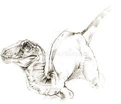 dinosaur dinosaur drawing pencil sketch stock illustration