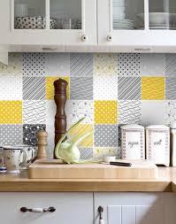 backsplash for yellow kitchen backsplash decal vinyl backsplash yellow gray tiles