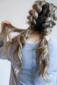 cute hairstyles pull through braid jumbo pull through braid pigtails tutorial plaited ponytails big