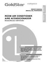 goldstar air conditioners gwhd5000 pdf owner u0027s manual free