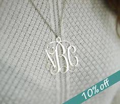 2 Inch Monogram Necklace Personalized Hand Stamped Layered Mixed Metal Disc Tag Necklace On