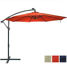 10 Foot Patio Umbrella Sunnydaze 10 Foot Outdoor Steel Offset Solar Led