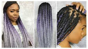 grey and purple combined together style box breads how to box braid like a pro protective style mariaantoinettetv