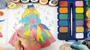 barbie pretty dresses watercolor painting learn colors kids