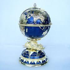 globe faberge inspired egg trinket box russian craft metal jewerly