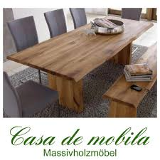 Esszimmertisch Naturkante Echtholz Tisch Esstisch Mit Wangenfuss 240x100cm Wildeiche Massiv