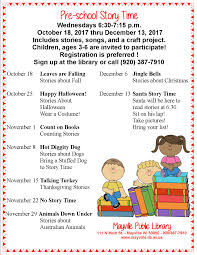 preschool story time started on wednesday october 18 at 6 30 p m