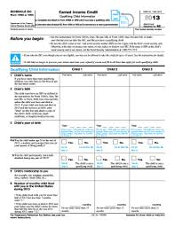 earned income tax table 2013 form irs 1040 schedule eic fill online printable fillable
