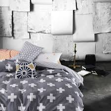 plus sign printed gray queen size duvet cover bedding sets grid