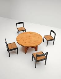 round pine dining table by roland wilhelmsson for karl anderson