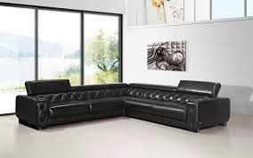 furniture black leather tufted sectional sofas with arm rest and