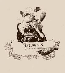 vintage halloween witch making potion poster vector illustration