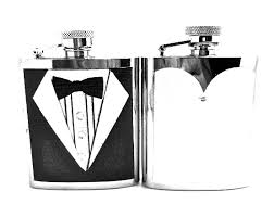 and groom flasks with this bling gifted